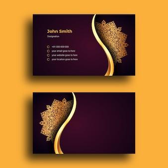 Modello di disegno di biglietto da visita di lusso con sfondo arabesque mandala ornamentale di lusso