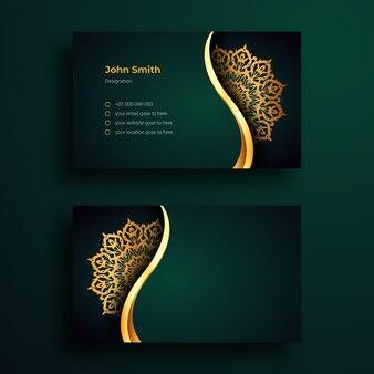 Modello di disegno di biglietto da visita di lusso con mandala arabesque ornamentale di lusso