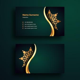 Modello di disegno di biglietto da visita di lusso con arabesque mandala ornamentale di lusso