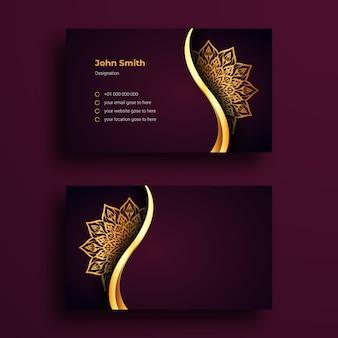 Modello di disegno di biglietto da visita di lusso con mandala ornamentale di lusso