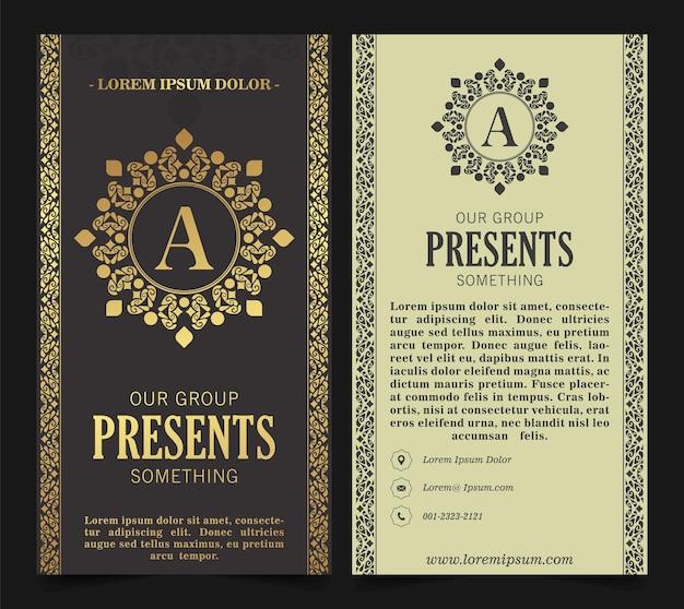 Biglietto da visita di lusso e modello di logo ornamento vintage. retrò elegante fiorisce design del telaio ornamentale