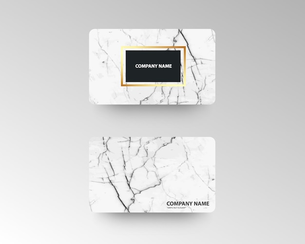 Biglietti da visita di lusso con struttura in marmo e oro Vettore Premium