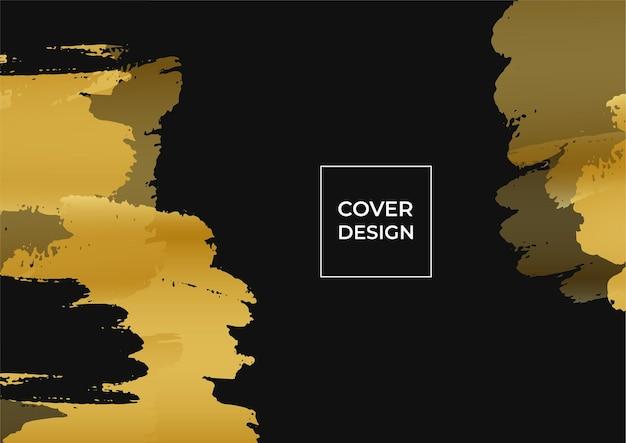 Sfondo di copertina di affari di lusso, decorazione astratta, motivo dorato, sfumature di mezzitoni, illustrazione vettoriale 3d. modello di copertina in oro nero, forme geometriche, banner minimal moderno