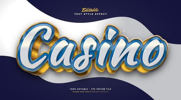 Stile di testo del casinò di lusso in bianco, blu e oro con effetto 3d. effetto stile testo modificabile