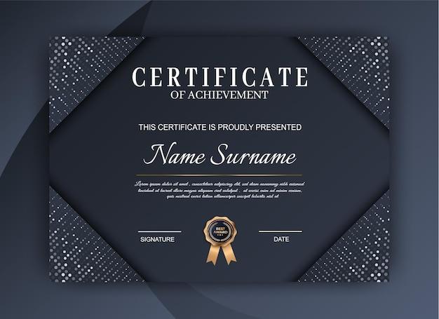 Certificato di lusso del modello di realizzazione. design moderno del diploma