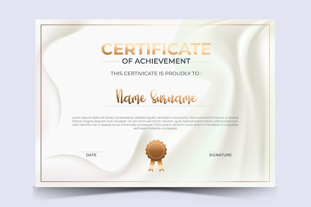 Modello di certificato di apprezzamento di lusso con stile dorato