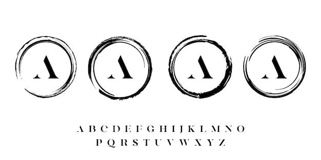 Collezione di design del logo del tratto di pennello cerchio di lusso