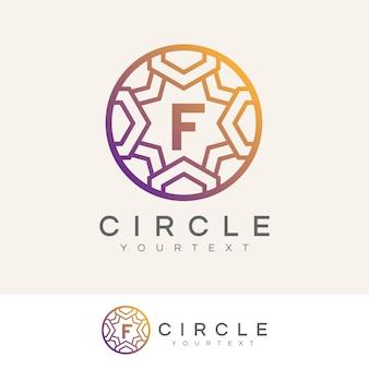 Cerchio di lusso iniziale lettera f logo design
