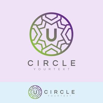 Cerchio di lusso iniziale lettera u design logo