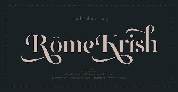 Carattere di lettere dell'alfabeto classico di lusso. tipografia elegante matrimonio caratteri decorativi vintage retrò