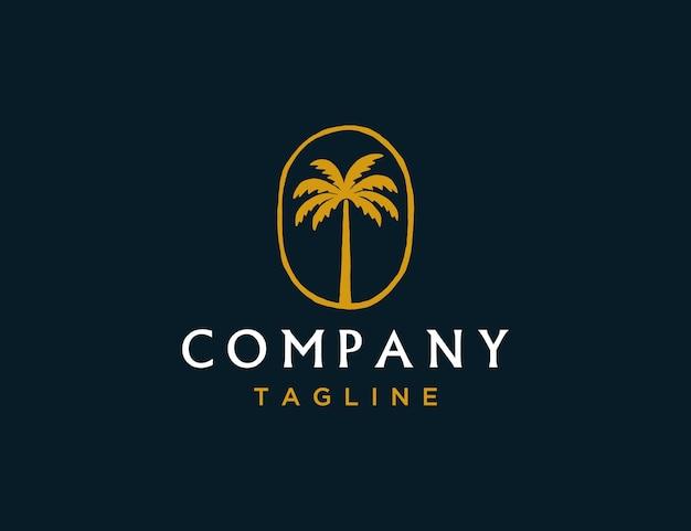 Modello di logo di lusso albero di cocco