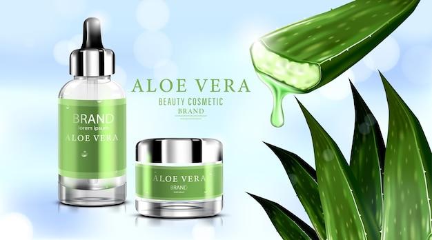 Bottiglia cosmetica di lusso confezione crema per la cura della pelle con aloe vera.