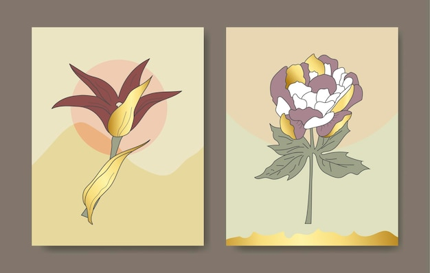 Modello di progettazione di copertina di lusso. la mano di arti della linea tropicale disegna fiori e foglie esotici d'oro. design per il design di imballaggi, post sui social media, copertina, banner, arti della parete, vettore di design geometrico dorato