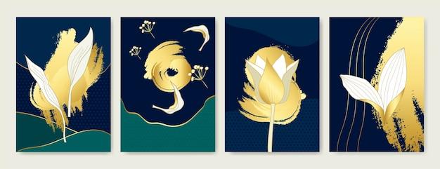 Modello di design di copertina di lusso linea tropicale arti mano disegnare fiori e foglie esotici d'oro