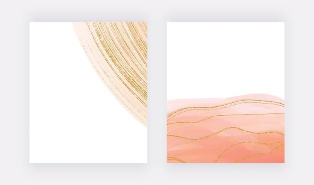 Design di copertina di lusso con texture acquerello beige e linee glitter dorate