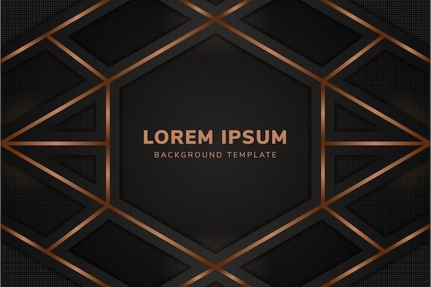Sfondo scuro di lusso con gradiente di linea marrone con layout orizzontale e elementi di motivo a punti di trasparenza