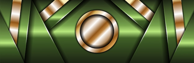 Sfondo scuro banner di lusso con linee verdi e argento