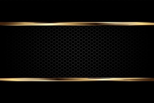 Sfondo nero scuro di lusso con trama in carbonio e linea di confine dorata