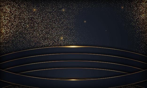 Sfondo blu scuro di lusso con linee dorate ed effetto luce scintillante