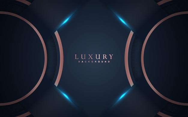 Sfondo blu scuro di lusso con decorazioni in oro rosa