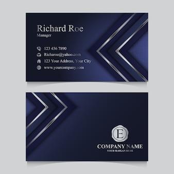 Modello di biglietti da visita blu scuro di lusso con forma d'argento.