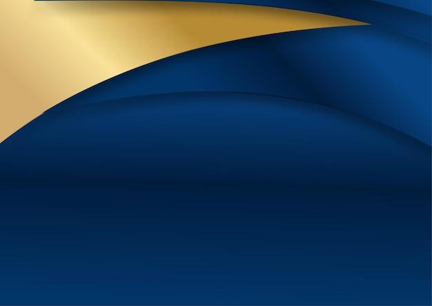 Fondo di dimensione di sovrapposizione blu scuro di lusso sul modello del metallo. texture mezzitoni luccicanti dorati colorati con elementi dorati realistici lucidi. modello di disegno vettoriale moderno. sfondo semplice onda