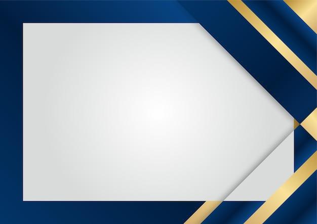 Elementi di dimensione di sovrapposizione blu scuro di lusso su sfondo argento. struttura dei mezzitoni di forme geometriche astratte con elementi dorati realistici lucidi. modello di disegno vettoriale moderno
