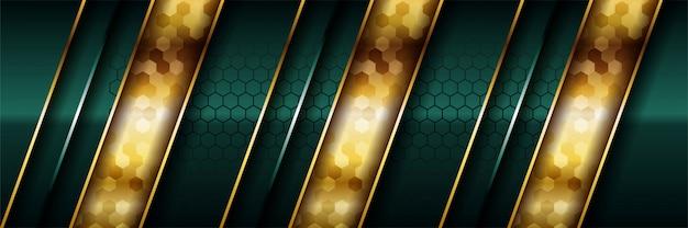 Sovrapposizione di lusso verde scuro con linea dorata realistica ed esagono su oro lucido