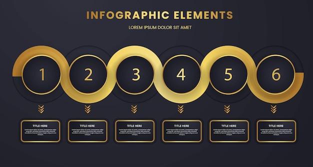 Timeline di visualizzazione dei dati aziendali in modalità oscura di lusso da uno a sei elementi infografici design del modello