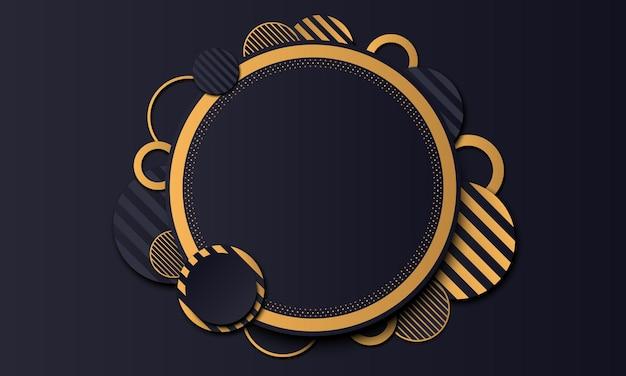 Banner di lusso cerchio blu scuro con sfondo dorato. illustrazione vettoriale.