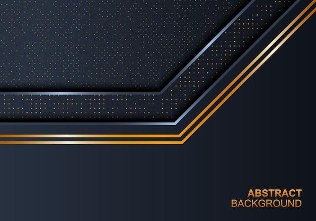 Strato sovrapposto di lusso blu scuro con linee lucide dorate e sfondo con motivo a punti. sfondo astratto. illustrazione vettoriale.