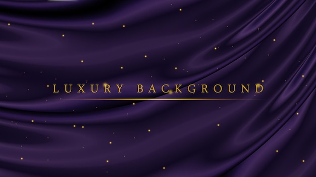 Modello di sfondo viola scuro di lusso con glitter dorati per premiazione o cerimonia