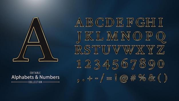 Collezione di alfabeti e numeri dorati decorativi di lusso