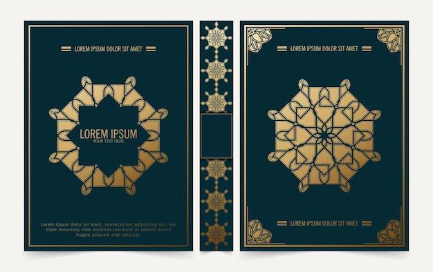 Design di copertina del libro mandala decorativo di lusso