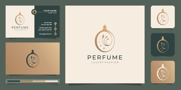 Design di lusso per il modello di logo del profumo. logo per salone, bellezza, cura della pelle, con biglietto da visita.
