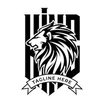 Logo del leone in stile e-sport di lusso