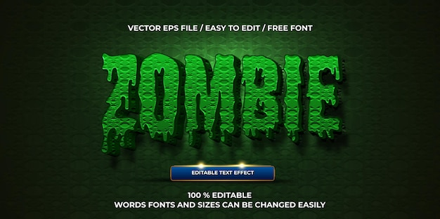 Effetto di testo modificabile di lusso stile di testo 3d zombie