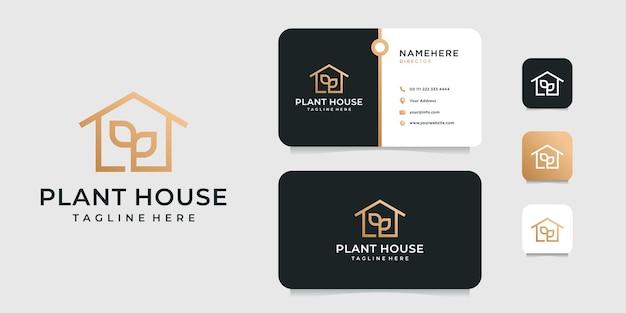 Logo della casa essenziale elegante di lusso con modello di progettazione di biglietto da visita. Vettore Premium