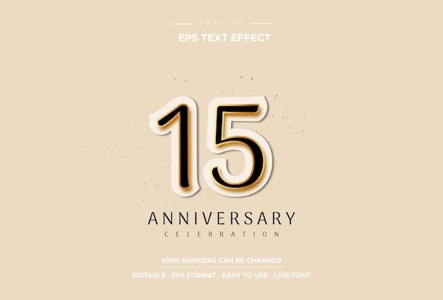 Effetto di testo di quindici anniversario di lusso ed elegante sul numero bianco su fondo oro
