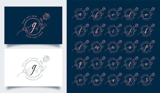 Modello di logo di alfabeto floreale di lusso ed elegante
