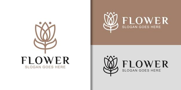 Lussuosa linea elegante in stile arte floreale o logo floreale per prodotti per la cura della pelle dei cosmetici spa