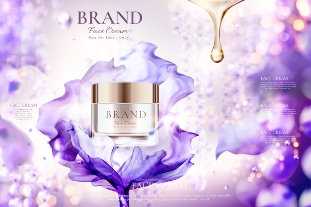 Annunci di vasetti di crema per il viso di lusso con effetto chiffon viola volante su sfondo bokeh scintillante