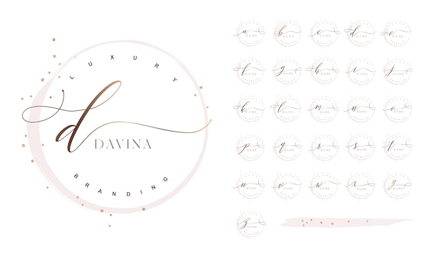 Design del logo iniziale femminile di lusso con swash calligrafici glitter e cornice rotonda