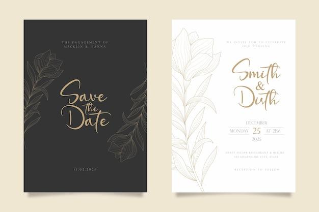 Disegno del modello di carta di invito a nozze in stile arte linea floreale di lusso