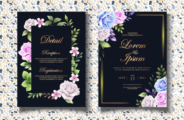 Modello di invito matrimonio floreale di lusso