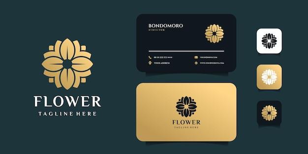 Modello di progettazione di logo e biglietto da visita di bellezza del fiore di lusso. Vettore Premium