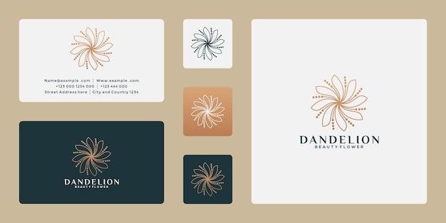 Design del logo del fiore di tarassaco di lusso per la tua spa, resort, negozio di piante
