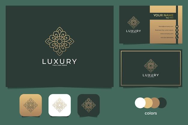Logo di arte di lusso fiore linea e biglietto da visita
