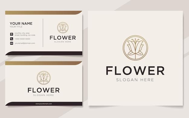 Logo di fiori di lusso e modello di biglietto da visita