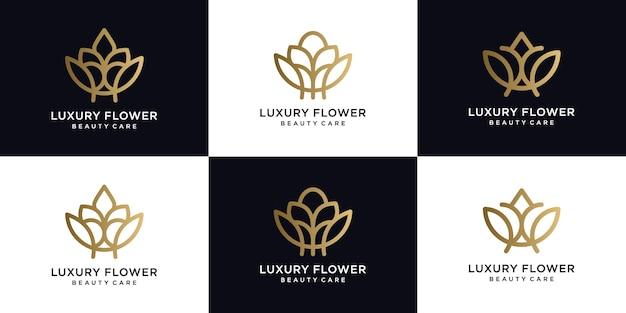 Stile lineare di lusso fiore logo icona